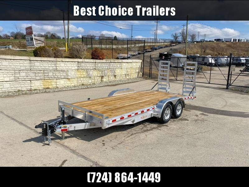"2021 H&H 7x18' Aluminum Equipment Trailer 14000# GVW * STAND UP ALUMINUM RAMPS * 12K JACK * ADJUSTABLE COUPLER * 7000# TORSION AXLES * 4 SWIVEL D-RINGS * EXTRA STAKE POCKETS * SPARE TIRE MOUNT * HD 8"" CHANNEL FRAME * REMOVABLE FENDERS * ALUMINUM WHEELS"