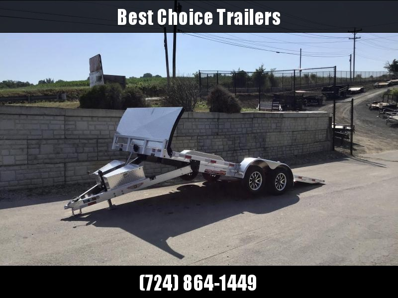 """2021 H&H 7x18' DELUXE Aluminum Power Tilt Car Hauler Trailer 7000# GVW * ROCK GUARD * DUAL TOOLBOXES * EXTRUDED FLOOR * SWIVEL D-RINGS * 6"""" CHANNEL TONGUE AND FRAME * REMOVABLE FENDERS * ALUMINUM WHEELS"""