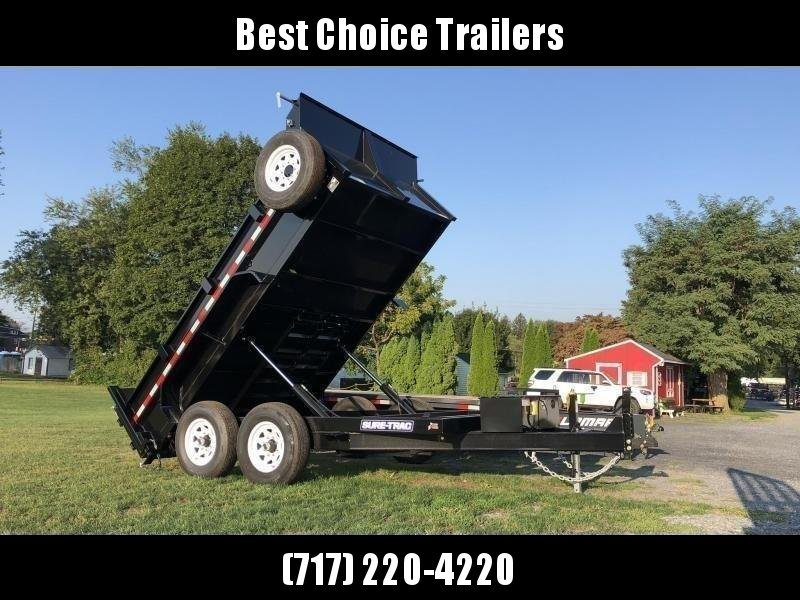 2021 Sure-Trac 7x12' Dump Trailer 12000# GVW * TARP KIT * DUAL PISTON * FRONT/REAR BULKHEAD * INTEGRATED KEYWAY * 2' SIDES * UNDERBODY TOOL TRAY * ADJUSTABLE COUPLER * 110V CHARGER * UNDERMOUNT RAMPS * COMBO GATE * 7K DROP LEG JACK