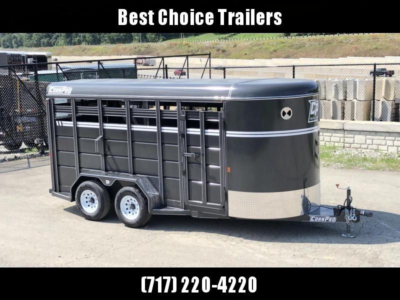 "2022 Corn Pro 16' Livestock Trailer 9990# GVW * 5200# AXLES * 7' WIDTH * CHARCOAL * TORSION SUSPENSION * DEXTER AXLES * 225/75/R15 8-PLY TIRES * HD FENDERS * CENTER AND REAR SLAM GATES * 4"" CHANNEL TONGUE * URETHANE PAINT * KILN DRIE"