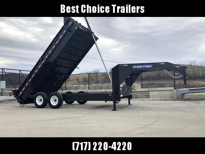 2020 Sure-Trac 7x14' 16000# Low Profile HD GOOSENECK Dump Trailer * TELESCOPIC HOIST * 8000# AXLE UPGRADE * 7 GAUGE FLOOR * DUAL HYDRAULIC JACKS * DELUXE TARP KIT