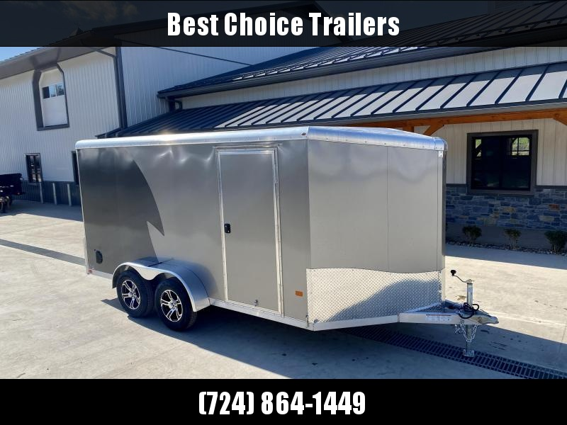 """2022 NEO Trailers 7X14' NAMR Aluminum Enclosed Motorcycle Trailer * PEWTER + CHARCOAL * VINYL WALLS * +6"""" HEIGHT * ALUMINUM WHEELS * TIE DOWN SYSTEM"""