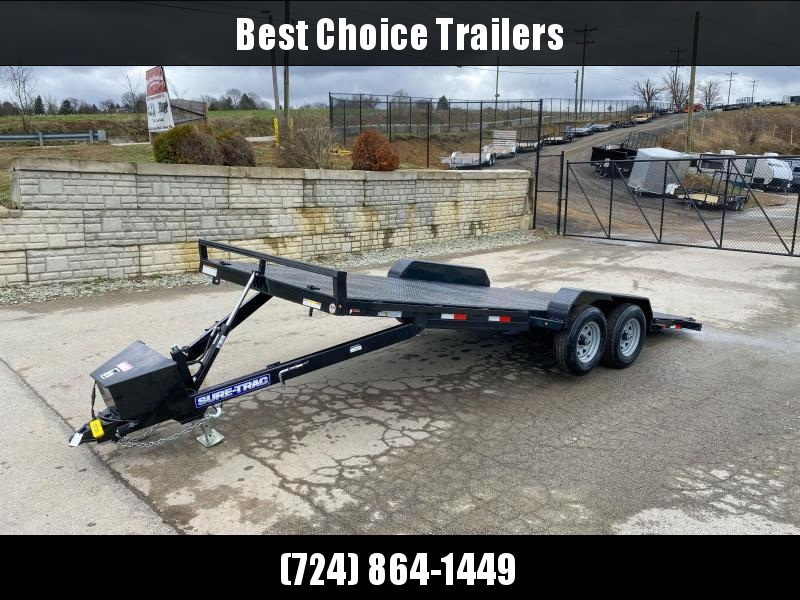 2020 Sure Trac 7x20' Power Tilt Car Trailer 9900# GVW * STEEL DECK UPGRADE * FREE ALUMINUM WHEEL UPGRADE * LOTS OF TIE DOWNS * REMOVABLE FENDER * POWER TILT