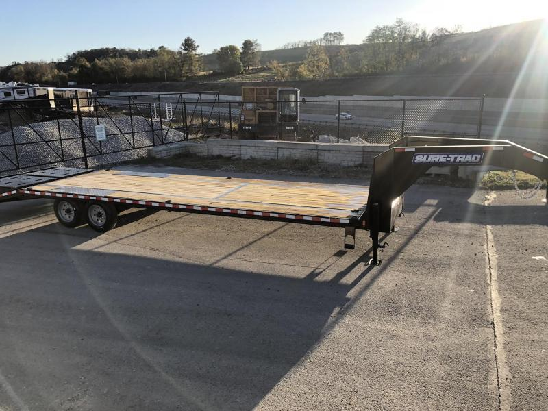 "2020 Sure-Trac 102x30' Gooseneck Beavertail Deckover Trailer 17600# GVW * 8000# AXLES * 17.5"" 16-PLY TIRES * 3 3/8"" BRAKES * DUAL JACKS * FULL TOOLBOX * FULL WIDTH RAMPS (STAND UP OR FLIPOVER) * 12"" I-BEAM * PIERCED FRAME * (10) 1"" D-RINGS * CROSS TRAC *"