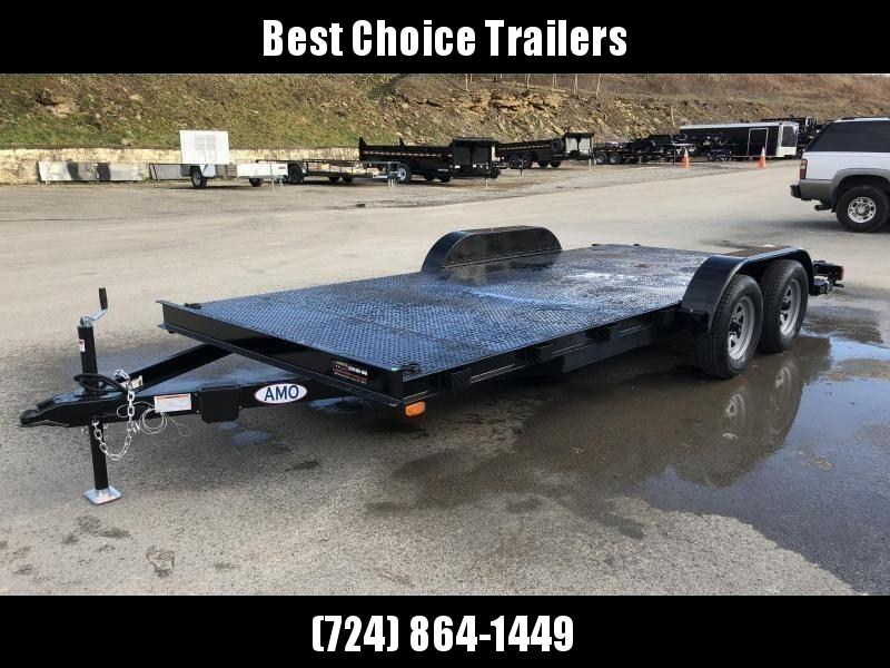 2021 AMO 7x18' Steel Deck Car Trailer 7000# GVW * LED TAIL LIGHTS * STACKED CHANNEL TONGUE/FRAME * BEAVERTAIL * REMOVABLE FENDERS * 2-AXLE BRAKES * STEEL FLOOR