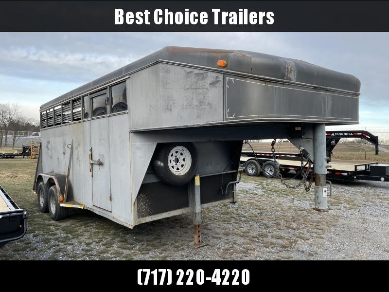 USED 2001 Adam 16' Gooseneck 3-Horse Slant Load Trailer