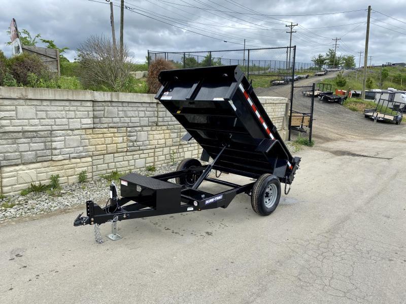 2021 Sure Trac 5x8 Single Axle Dump Trailer 5000 GVW BARN DOORS INTEGRATED KEYWAY SPARE TIRE MOUNT TARP PREP D RINGS DIAMOND PLATE FENDERS POWER UP POWER DOWN TRIPLE TUBE TONGUE BULLET LED S RADIALS POWDERCOATED SEALED HARNESS