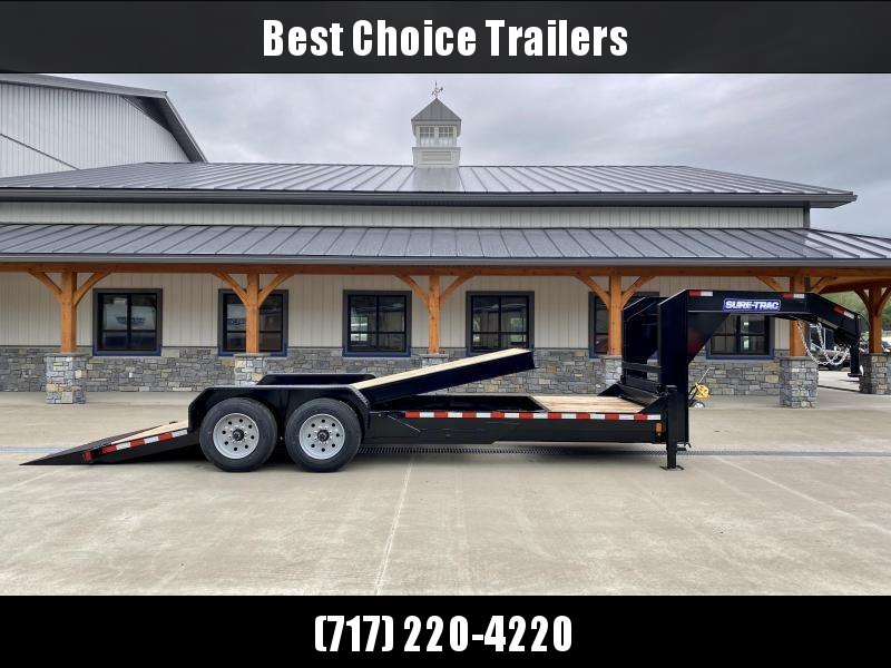 "2021 Sure-Trac 7x21' Gooseneck Power Tilt Equipment Trailer 16000# GVW * 8K AXLE UPGRADE * FULL DECK POWER TILT * TOOLBOX * DUAL 12K JACKS * D-RINGS/RUBRAIL/STAKE POCKETS * OAK DECKING * 17.5"" RUBBER"
