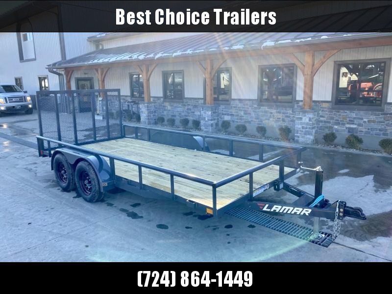"2021 Lamar 7x16' Deluxe Utility Landscape Trailer 7000# GVW * ADJUSTABLE COUPLER * PIPE TOP RAIL * 7K DROP LEG JACK * CHARCOAL * HD GATE/2X2"" TUBE C/M + SPRING ASSIST * COLD WEATHER HARNESS * 4"" CHANNEL TONGUE * STAKE POCKETS * TEARDROP FENDERS * BULLET L"