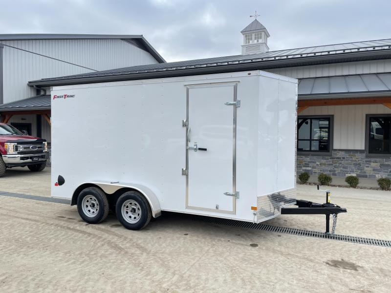 "2021 Wells Cargo 7x14' Fastrac Deluxe Enclosed Cargo Trailer 7000# GVW * WHITE EXTERIOR * RAMP DOOR * V-NOSE * .030 EXTERIOR * 7' HEIGHT / UTV PKG * TUBE STUDS * 3/8"" WALLS * 1 PC ROOF * 16"" O.C. WALLS * BULLET LED'S"