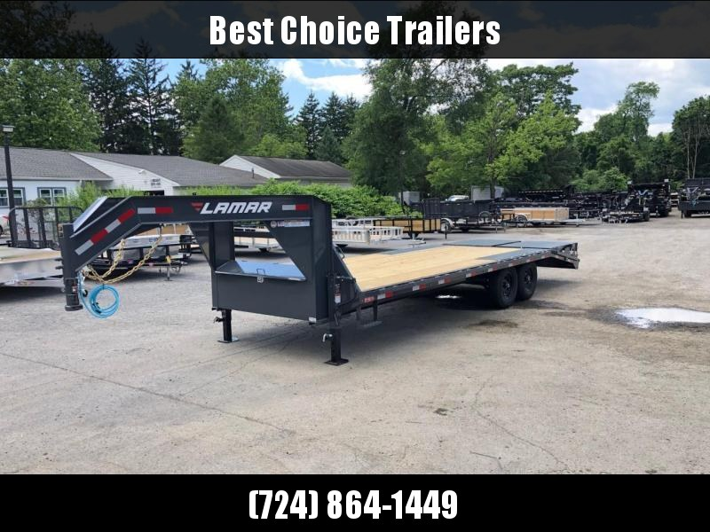 2021 Lamar Trailers 102x24' Gooseneck Deckover Trailer 14000# GVW * FULL WIDTH RAMPS * FRONT TOOLBOX * DUAL JACKS * CHARCOAL * SIDE TOOLBOX