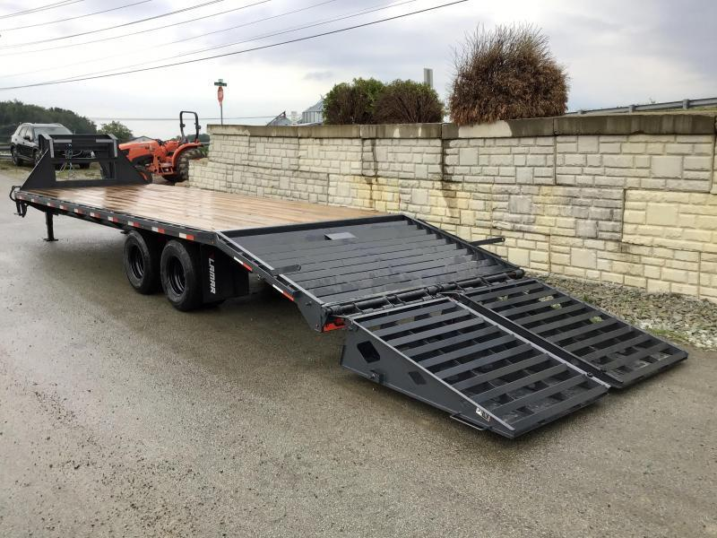 "2021 Lamar 102x28' Gooseneck Beavertail Deckover Trailer 22500# * FULL WIDTH RAMPS * CHARCOAL * 12"" / 19# I-BEAM * DEXTER TANDEM DUALS * FRONT TOOLBOX / DUAL JACKS * UNDER FRAME BRIDGE"