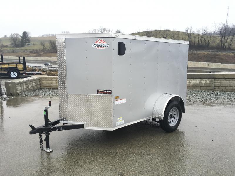 2021 Rock Solid Cargo 5x8' Enclosed Cargo Trailer 2990# GVW *  SILVER EXTERIOR * RAMP DOOR * RV DOOR * 16IN O.C. C/M * TUBE STUDS * PLYWOOD WALLS AND FLOOR