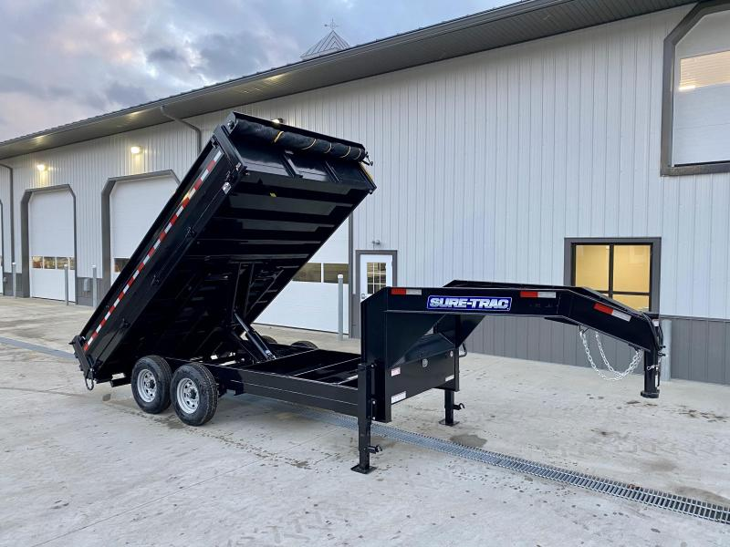 "2021 Sure-Trac 8x14' Gooseneck Deckover Dump Trailer 14000# GVW * TARP KIT * DUAL 12K JACKS * FULL FRONT TOOLBOX * I-BEAM NECK * 20"" FOLD DOWN SIDES * EXTENDED 90"" UNDERMOUNT RAMPS * OVERSIZE 8"" TUBE TONGUE/6"" HEAVY WALL FRAME * 6"" SCISSOR HOIST"