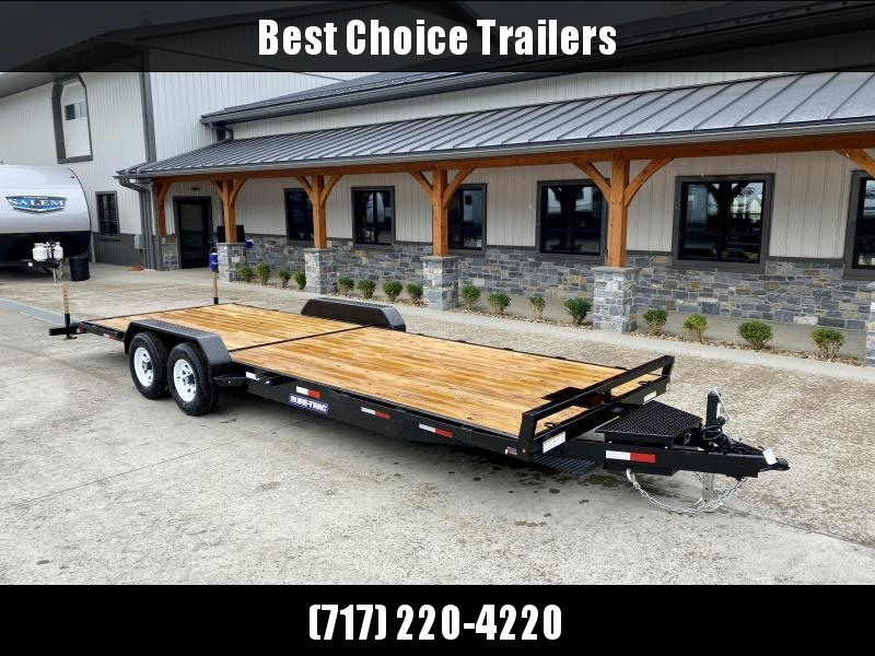 2021 Sure-Trac 7x24' Wood Deck Car Hauler 9900# GVW * RUBRAIL * DROP IN TOOLBOX * WINCH PLATE * REAR SUPPORT STANDS * REAR SLIDE OUT PUNCH PLATE FINGERJOINTED RAMPS * DIAMOND PLATE FENDERS * SEALED WIRING HARNESS * SET BACK JACK * STAKE POCKETS/D-RINGS