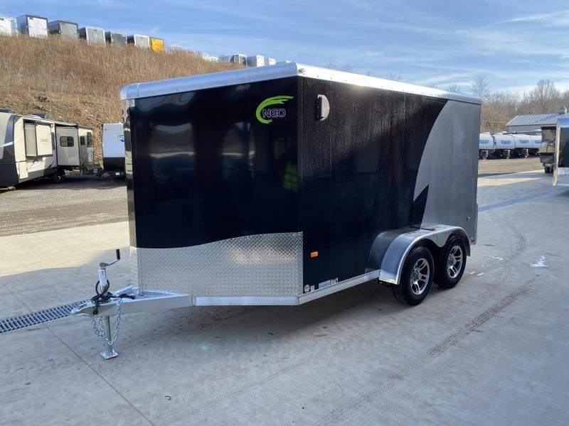 "2021 Neo 7x12' NAMR Aluminum Enclosed Motorcycle Trailer * VINYL WALLS * ALUMINUM WHEELS * +6"" HEIGHT * BLACK & SILVER"