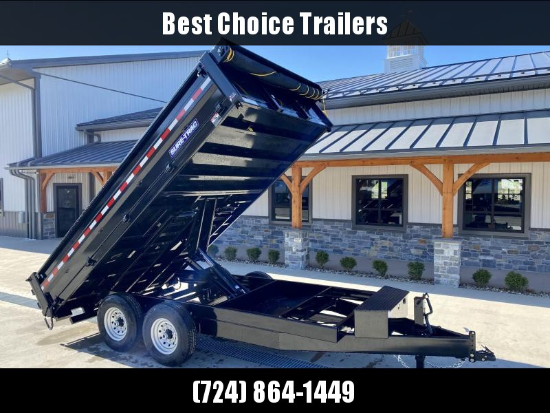 """2021 Sure-Trac 8x14' Deckover Dump Trailer 14000# GVW * DELUXE TARP * 20"""" FOLD DOWN SIDES * EXTENDED 90"""" UNDERMOUNT RAMPS * OVERSIZE 8"""" TUBE TONGUE/6"""" HEAVY WALL FRAME * 12K JACK * 6"""" SCISSOR HOIST * INTEGRATED KEYWAY * UNDERBODY TOOL TRAY * CLEARANCE"""