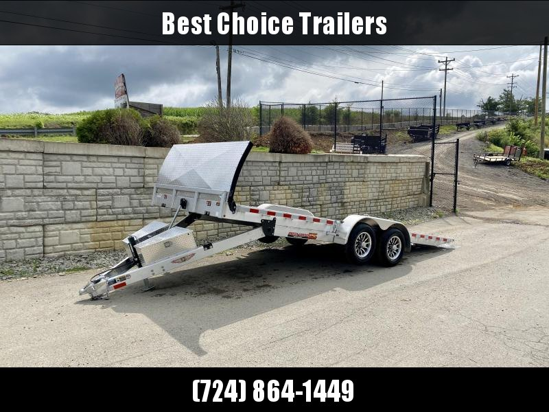 2020 H&H 7x20' Deluxe Aluminum Power Tilt Car Hauler Trailer 9900# GVW * TORSION * EXTRUDED FLOOR * STAKE POCKETS/RUBRAIL/SWIVEL D-RINGS * STONEGUARD FAIRING * SPARE TIRE MOUNT *  TOOLBOX * WINCH PLATE * ALUMINUM WHEELS