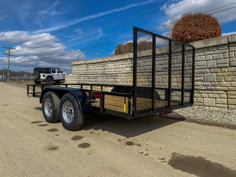 """2022 AMO 76x16' Angle Iron Utility Landscape Trailer 7000# GVW * 4"""" CHANNEL TONGUE * RADIAL TIRES * TUBE GATE C/M * BRAKES ON BOTH AXLES * LED LIGHTS * CLEARANCE"""
