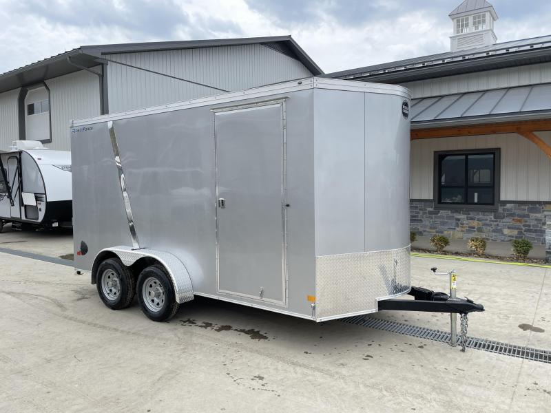 "2021 Wells Cargo 7x14' Road Force Enclosed Cargo Trailer 7000# GVW * SILVER EXTERIOR W/ CHROME DIVIDER * 7' HEIGHT - UTV PKG * RAMP DOOR * V-NOSE * SCREWLESS .030 EXTERIOR * TUBE STUDS * 1 PC ROOF * 16"" O.C. WALLS/FLOOR * RV DOOR * ARMOR GUARD * BULLET LE"