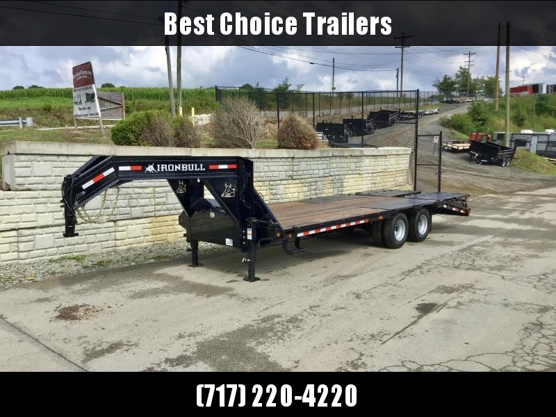 2021 Ironbull 102x24' Gooseneck Beavertail Deckover Trailer 25990# GVW * DEXTER 12K AXLES * FULL WIDTH RAMPS * PIERCED FRAME * SPARE TIRE * UNDER FRAME BRIDGE * RUBRAIL/STAKE POCKETS/PIPE SPOOLS/D-RINGS * DUAL JACKS