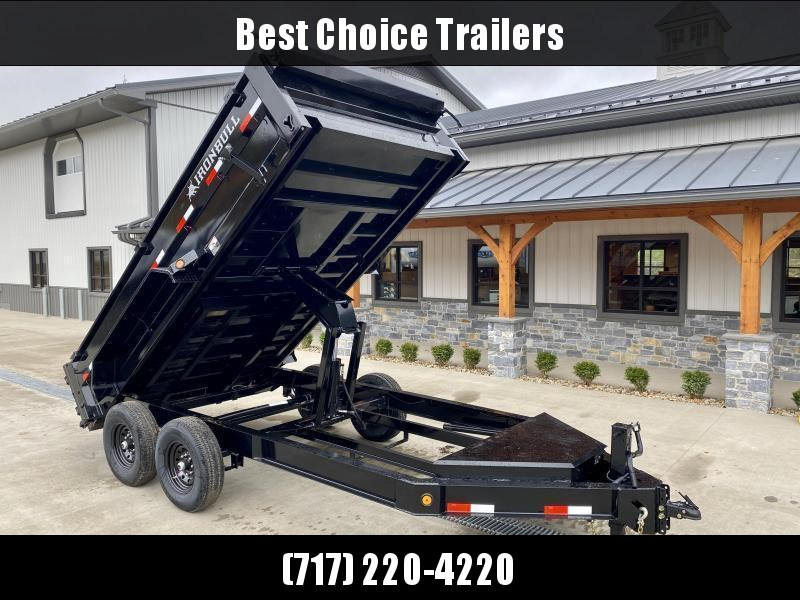"2021 Ironbull 7x12' Dump Trailer 14000# GVW * 12K HYDRAULIC JACK * 7 GA FLOOR * TARP KIT * SCISSOR HOIST * STACKED I-BEAM FRAME * 6"" TUBE BEDFRAME * 10 GA WALLS W/ KEYWAY * COMBO GATE * UNDERBODY BED RUNNERS * DEXTER AXLES * 2-3-2 WARRANTY"