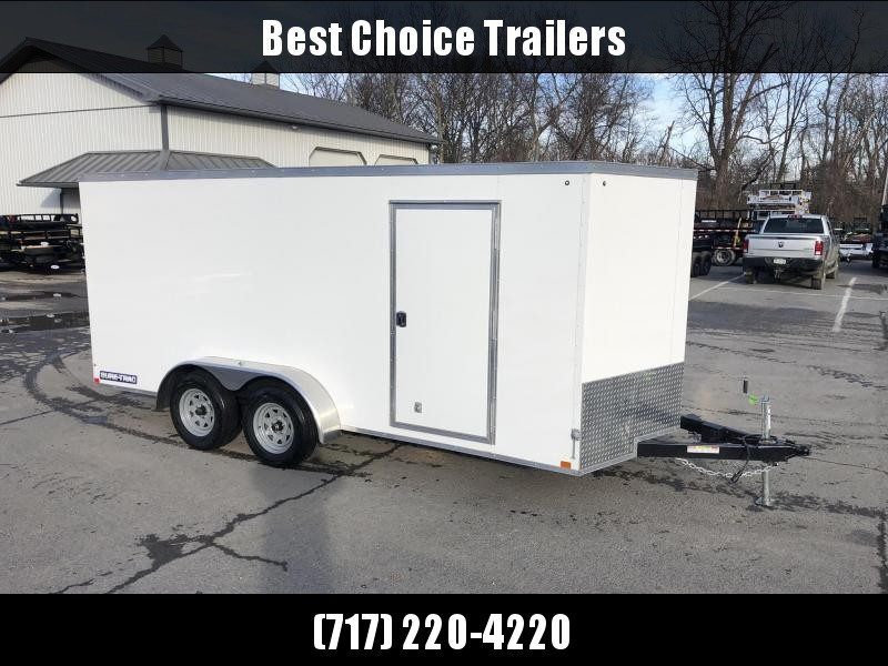 2021 Sure-Trac 7x14' Enclosed Cargo Trailer 7000# GVW * WHITE * SEMI-SCREWLESS * RV DOOR * TUBE STUDS * UNDERCOATED * V-NOSE