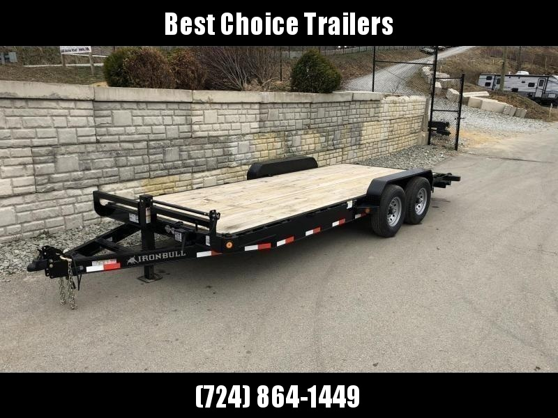 2021 Ironbull 7x22' Wood Deck Car Trailer 14000# GVW * OVERWIDTH RAMPS * CHANNEL C/M * RUBRAIL/STAKE POCKETS/PIPE SPOOLS/D-RINGS