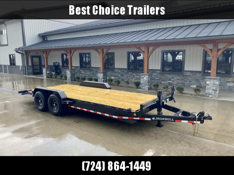 2022 Ironbull 7x22' Wood Deck Car Trailer 14000# GVW * OVERWIDTH RAMPS * CHANNEL C/M * RUBRAIL/STAKE POCKETS/PIPE SPOOLS/D-RINGS