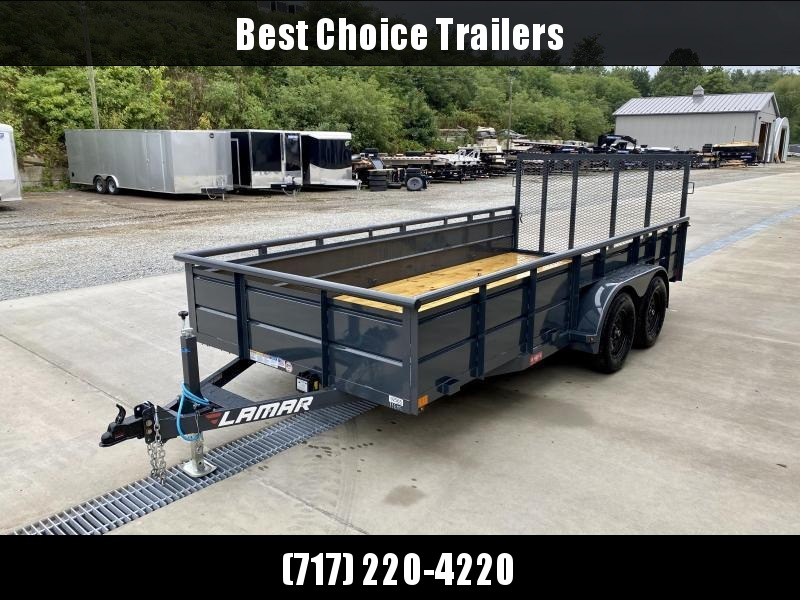 "2021 Lamar 7x14' High Side Utility Landscape Trailer 7000# GVW * ADJUSTABLE COUPLER * PIPE TOP RAIL * 24"" SOLID METAL SIDES * 7K DROP LEG JACK * CHARCOAL * HD GATE/2X2"" TUBE C/M + SPRING ASSIST * COLD WEATHER HARNESS * 4"" CHANNEL TONGUE"