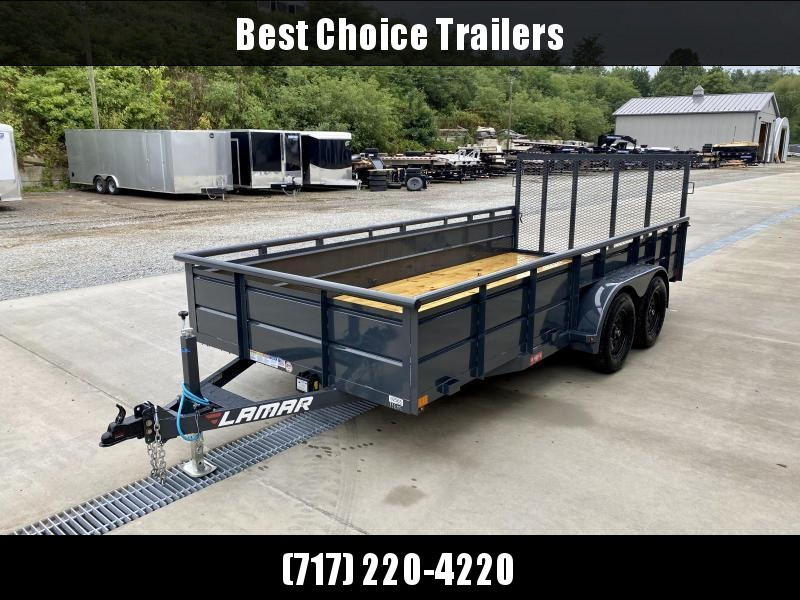 """2021 Lamar 7x14' High Side Utility Landscape Trailer 7000# GVW * ADJUSTABLE COUPLER * PIPE TOP RAIL * 24"""" SOLID METAL SIDES * 7K DROP LEG JACK * CHARCOAL * HD GATE/2X2"""" TUBE C/M + SPRING ASSIST * COLD WEATHER HARNESS * 4"""" CHANNEL TONGUE"""