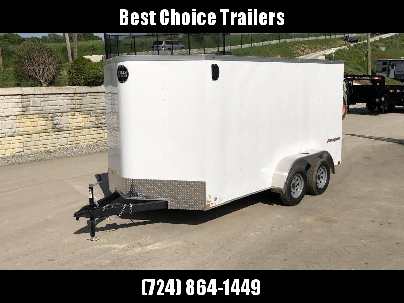 """USED 2020 Wells Cargo 7x14' Fastrac DELUXE Enclosed Cargo Trailer 7000# GVW * SILVER EXTERIOR * BARN DOORS * V-NOSE * .030 EXTERIOR * 6'6"""" HEIGHT * TUBE STUDS * 3/8"""" WALLS * 1 PC ROOF * 16"""" O.C. WALLS * BULLET LED'S"""