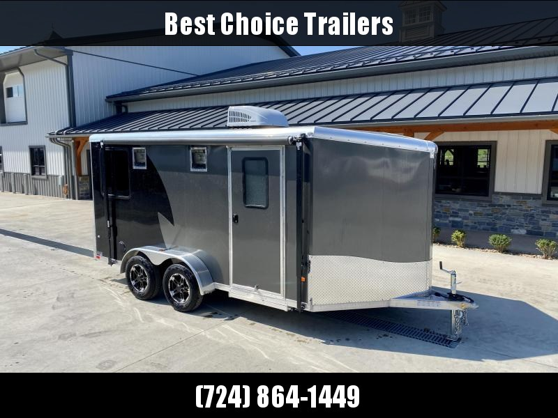 """2022 Neo 7x14' NAMR Aluminum Enclosed Motorcycle Trailer * VINYL WALLS/CEILING * INSULATION * ALUMINUM WHEELS * +6"""" HEIGHT * BLACK+CHARCOAL * SPORT TIE DOWN SYSTEM * NUDO FLOOR * CABINETS * AWNING * 30""""x30"""" WINDOW * A/C UNIT"""