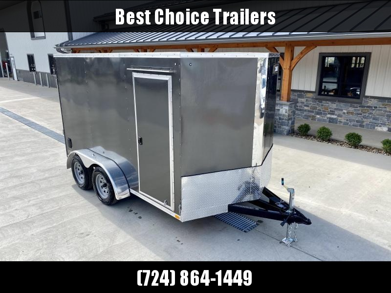 """2021 ITI Cargo 7x12' Enclosed Cargo Trailer 7000# GVW * CHARCOAL EXTERIOR * .030 SEMI-SCREWLESS * 1 PC ROOF * 6'6"""" INTERIOR * 3/8"""" WALLS * 3/4"""" FLOOR * PLYWOOD * 24"""" STONEGUARD * HIGH GLOSS PAINTED FRAME * RV DOOR"""