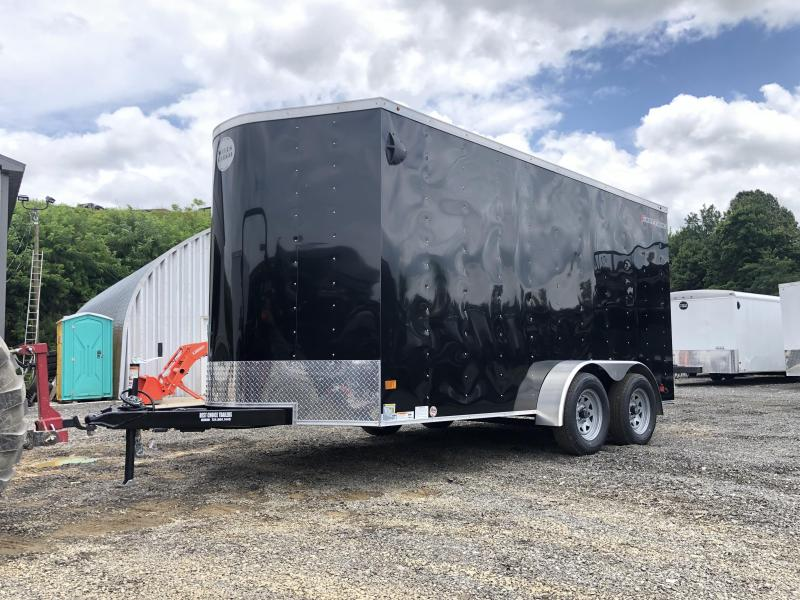 "2021 Wells Cargo 7x16' Fastrac Deluxe Enclosed Cargo Trailer 7000# GVW * BLACK EXTERIOR * RAMP DOOR * V-NOSE * .030 EXTERIOR * 6'6"" HEIGHT * TUBE STUDS * 3/8"" WALLS * 1 PC ROOF * 16"" O.C. WALLS * BULLET LED'S"