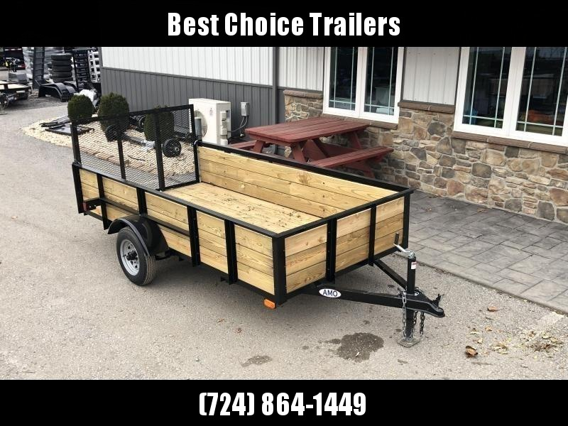 "2021 AMO 5x10' Wood High Side Angle Iron Utility Landscape Trailer 2200# GVW * 3-BOARD HIGH SIDE * GATE * A-FRAME TONGUE * A-FRAME JACK * 2"" BALL"