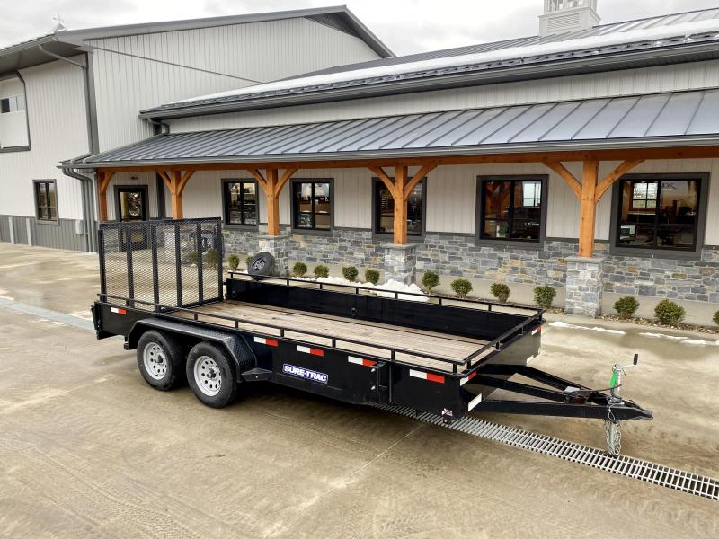 "USED 2019 Sure-Trac 7x16' Steel High Side Utility Trailer 7000# GVW * 3x4"" ANGLE FRAME * 14"" STEEL SOLID SIDES * 2X2"" TUBE GATE C/M + SPRING ASSIST + FOLD FLAT * TOOLESS GATE REMOVAL * SPARE MOUNT * PROTECTED WIRING * SET BACK JACK * TRIPLE TUBE TONGUE"