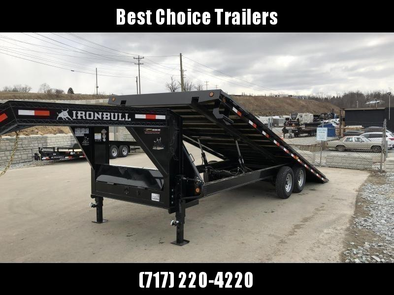 "2021 Ironbull 102x24' Gooseneck Deckover Power Tilt Trailer 14000# GVW * SCISSOR HOIST UPGRADE * WINCH PLATE * I-BEAM FRAME * RUBRAIL/STAKE POCKETS/PIPE SPOOLS/D-RINGS/BANJO EYES * 6"" TUBE BED FRAME * 4X4X1/4 WALL TUBE BED RUNNERS (12#/') * DUAL 12K JACKS"