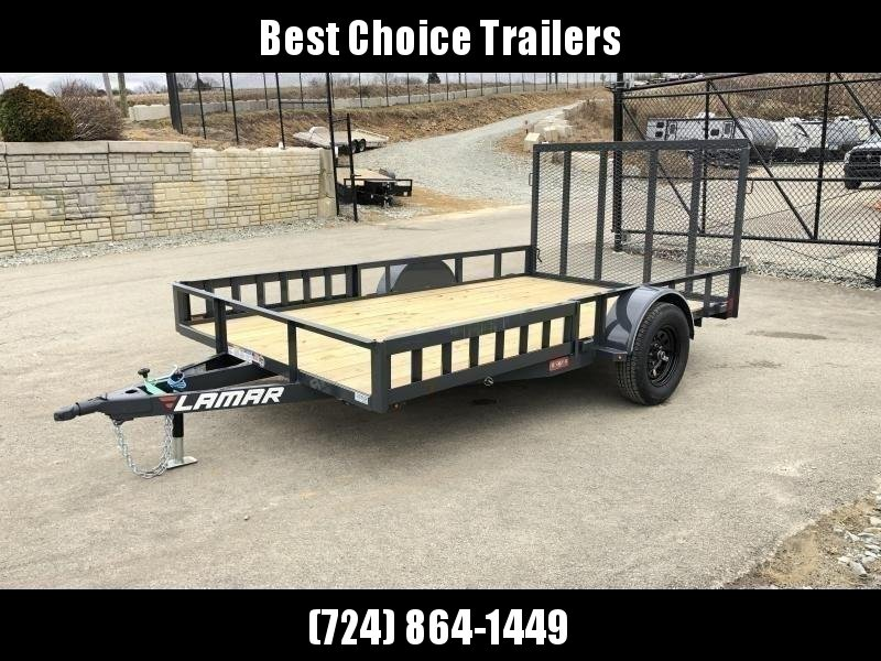 "2020 Lamar 7x12' ATV Utility Landscape Trailer 2990# GVW * ATV RAMPS * CHARCOAL * CAST COUPLER * SEALED COLD WEATHER HARNESS * 4"" CHANNEL FULL WRAP TONGUE * STAKE POCKET TIE DOWNS * 2X2"" TUBE GATE C/M * SPRING ASSIST GATE * SWVIEL JACK"