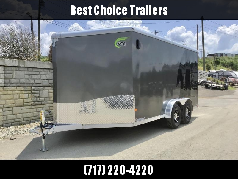 "2021 Neo 7.5x14' NAMR Aluminum Enclosed Motorcycle Trailer * NUDO FLOORS * VINYL WALLS * ALUMINUM WHEELS * +6"" HEIGHT * BLACK+SILVER * LOADING LIGHT * TORSION SUSPENSION * OVERHEAD CABINET"