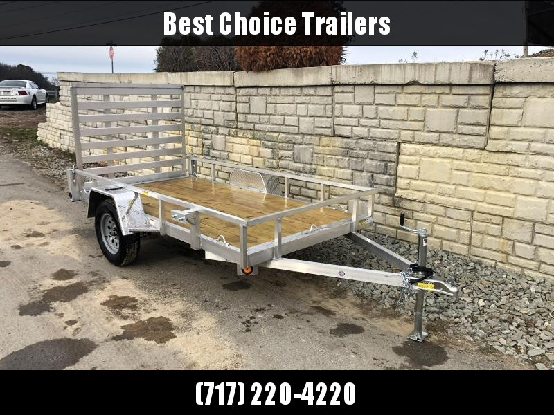 "2021 QSA 5x10' Aluminum Utility Landscape Trailer 2990# GVW * STANDARD MODEL * TUBE FRAME AND TONGUE * SPARE MOUNT * TIE DOWNS * 4' FOLD IN GATE * LED'S * FENDER GUSSETS * 3500# AXLE * 15"" TIRES * TUBE TOP RAIL"
