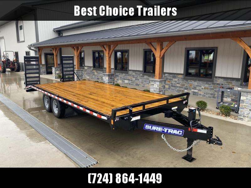 "2021 Sure-Trac 102x22 Flatbed Deckover Trailer 15000# GVW * STRAIGHT DECK * 10"" I-BEAM MAINFRAME * CHANNEL SIDE RAIL * RUBRAIL/STAKE POCKETS/D-RINGS * ADJUSTABLE COUPLER * 12K DROP LEG JACK * LED'S"