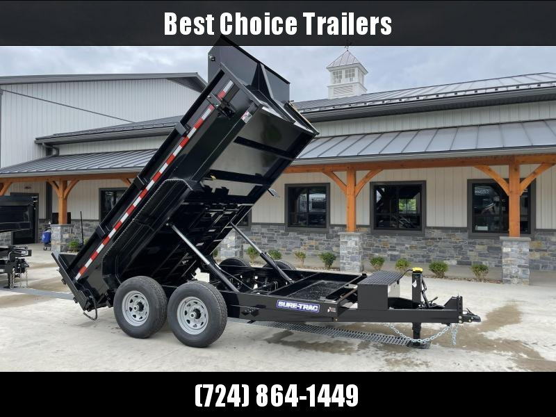 2021 Sure-Trac 7x12' Dump Trailer 14000# GVW * TARP KIT * DUAL PISTON * FRONT/REAR BULKHEAD * INTEGRATED KEYWAY * 2' SIDES * UNDERBODY TOOL TRAY * ADJUSTABLE COUPLER * 110V CHARGER * UNDERMOUNT RAMPS * COMBO GATE