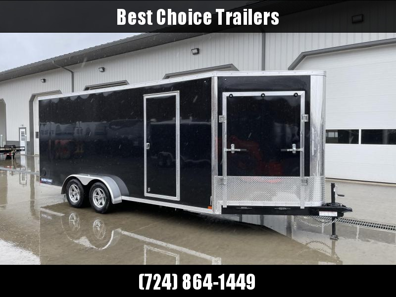 """2021 Sure-Trac 7x18+5' Pro Series Enclosed Cargo Trailer 7000# GVW * TORSION * BLACK EXTERIOR * 5' EXTENDED NOSE * FRONT RAMP * 7' INSIDE HEIGHT * RAMP * .030 SCREWLESS EXTERIOR * ALUMINUM WHEELS * 1 PC ROOF * 6"""" FRAME * 16"""" O.C. C/M * PLYWOOD * TUBE STUD"""