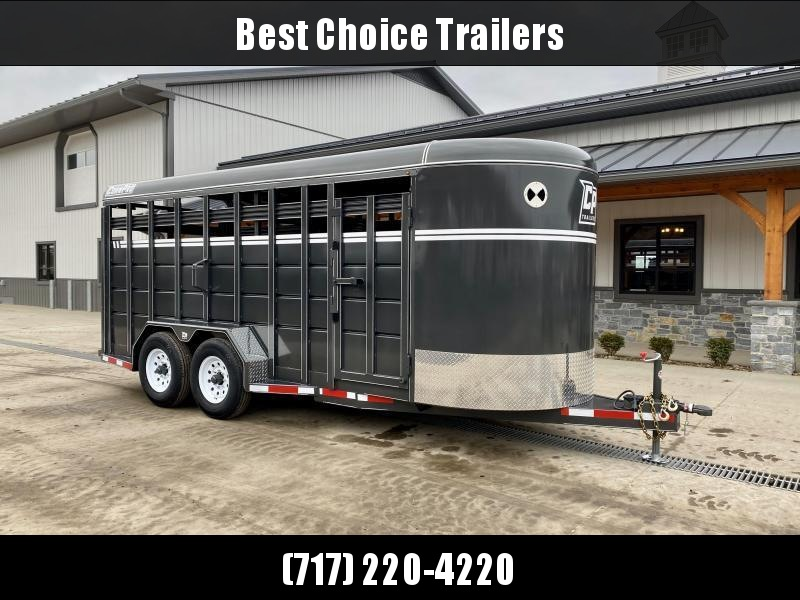 "2021 Corn Pro 18' Livestock Trailer 12000# GVW * GREY/CHARCOAL * TORSION SUSPENSION * DEXTER AXLES * 235/80/R16 10-PLY TIRES * HD FENDERS * CENTER AND REAR SLAM GATES * 4"" CHANNEL TONGUE * URETHANE PAINT * KILN DRIED LUMBER"