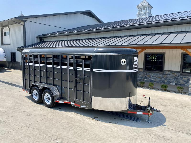 """2021 Corn Pro 18' Livestock Trailer 12000# GVW * GREY/CHARCOAL * TORSION SUSPENSION * DEXTER AXLES * 235/80/R16 10-PLY TIRES * HD FENDERS * CENTER AND REAR SLAM GATES * 4"""" CHANNEL TONGUE * URETHANE PAINT * KILN DRIED LUMBER"""