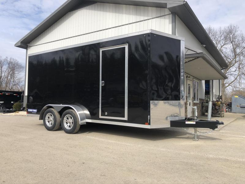 """2021 Sure-Trac 7x16' Pro Series Enclosed Cargo Trailer 7000# GVW * TORSION * WHITE EXTERIOR * V-NOSE * RAMP * .030 SCREWLESS EXTERIOR * ALUMINUM WHEELS * 1 PC ROOF * 6'6"""" HEIGHT * 6"""" FRAME * 16"""" O.C. C/M * PLYWOOD * TUBE STUDS"""