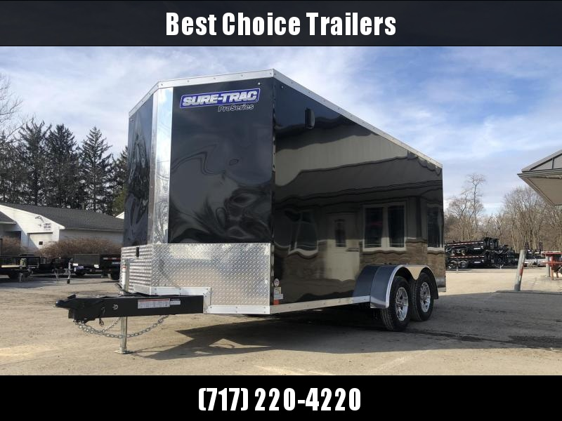 "2021 Sure-Trac 7x16' Pro Series Enclosed Cargo Trailer 7000# GVW * TORSION * WHITE EXTERIOR * V-NOSE * RAMP * .030 SCREWLESS EXTERIOR * ALUMINUM WHEELS * 1 PC ROOF * 6'6"" HEIGHT * 6"" FRAME * 16"" O.C. C/M * PLYWOOD * TUBE STUDS"