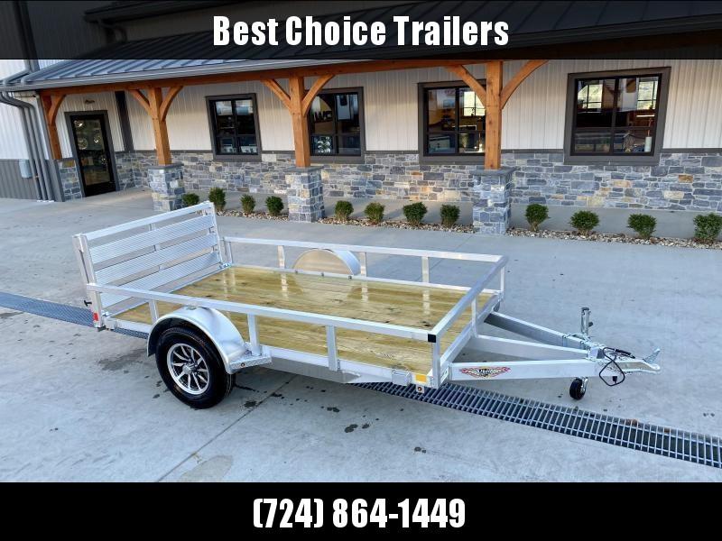 "2021 H&H 5.5x10' Aluminum Utility Landscape Trailer 2990# GVW * BI FOLD GATE * ALUMINUM WHEELS * TRIPLE TUBE TONGUE * TUBE TONGUE * SWIVEL JACK * STAKE POCKETS * EXTENDED 54"" GATE"