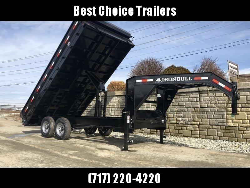 2021 Ironbull 8x14' Gooseneck Deckover Dump Trailer 14000# GVW * TARP KIT * I-BEAM FRAME * BED RUNNERS * FULL FRONT TOOLBOX * DUAL JACKS * FOLD DOWN SIDES * OVERSIZE 5x20 SCISSOR * INTGRATED KEYWAY/10GA WALLS